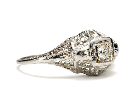 Antique Diamond Filigree Engagement Ring
