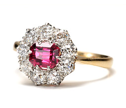 A Garden Aglow - Pink Spinel Diamond Ring