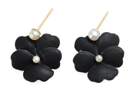 Pansies at Midnight - Flower Motif Earrings