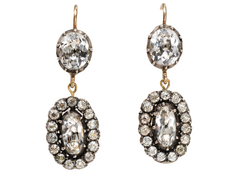 Antique Cluster Rock Crystal Earrings