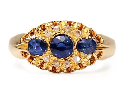 English Edwardian Charm: Sapphire Diamond Ring