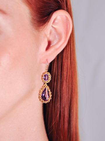 Amethyst Pendant Drop Earrings