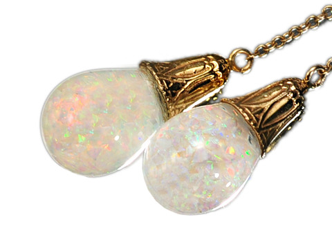 Art Deco Necklace of Floating Opals