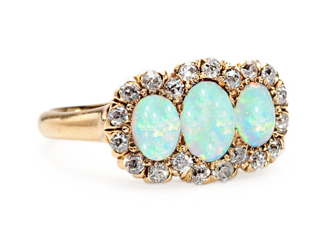 Antique Opal Diamond Cluster Ring