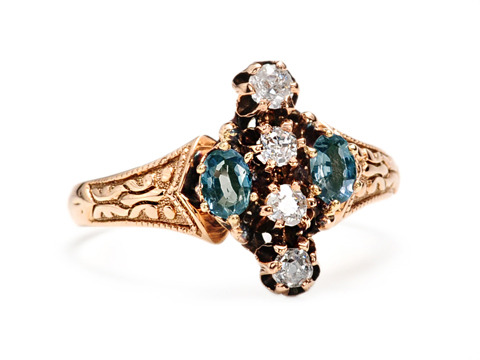 Alexandrite & Diamond Victorian Ring