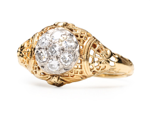 Art Deco Filigree Diamond Engagement Ring