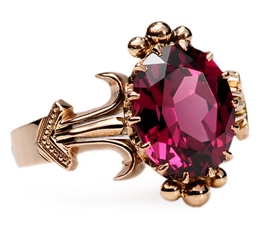 Antique Ring with Almandine Garnet of  4.25c.