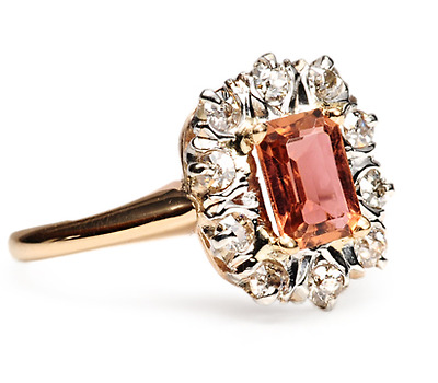1920s Mayhem: Tourmaline Diamond Ring