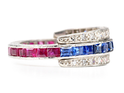 Twist of Fate: Ruby Sapphire & Diamond Flip Ring