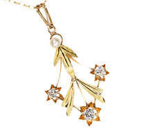 Falling Leaves & Stars: Diamond Pearl Pendant Necklace