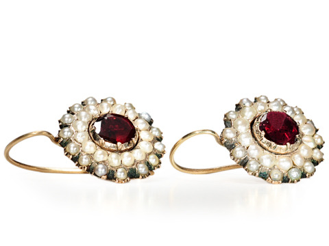 Georgian Cluster Earrings of Garnets & Pearls