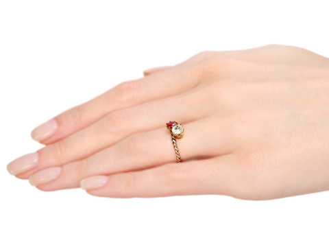 Antique Moi et Toi Diamond Ruby Crossover Ring