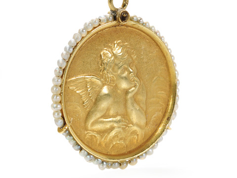 My Sweet Cherub: French Antique Pendant