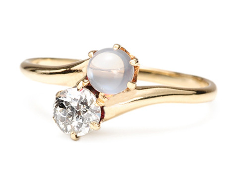 Celestial Skies: Edwardian Diamond Moonstone Ring