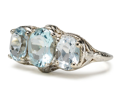 Triumvirate Of Aquamarine Ring