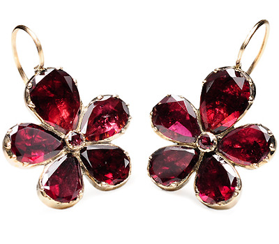 Thinking of You: Georgian Garnet Pansy Earrings