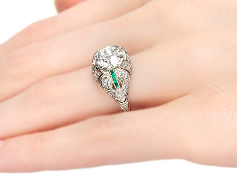 Out of this World: 2.53 c Diamond Emerald  Ring