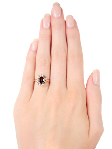 19th C. Garnet & Diamond Cluster Ring