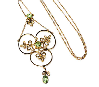 Peridot & Pearl Pendant Necklace
