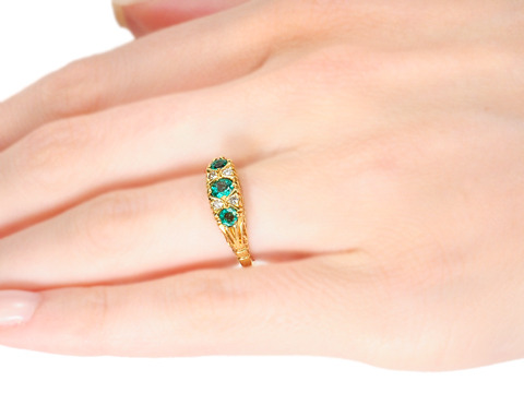 In the English Tradition: Emerald Diamond Ring