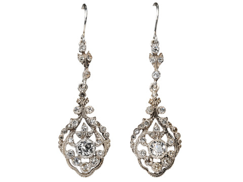 Evocative Edwardian Silver Paste Earrings