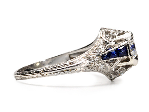 Fancy This: Art Deco Diamond & Sapphire Ring