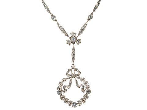 Superb Edwardian Garland & Bow Necklace Pendant