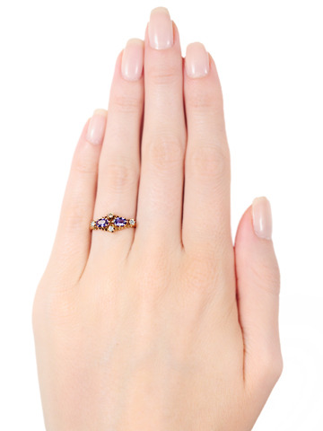 Edwardian Purple Sapphire & Diamond Ring