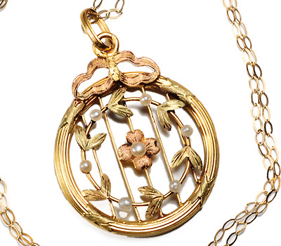 French Classical Revival Tri Color Gold Pendant