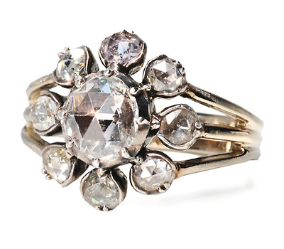 Large Georgian Rose Cut Diamond Cluster Ring
