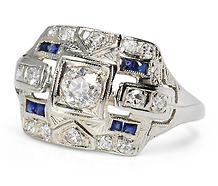 Art Deco Magic: Diamond Sapphire Ring