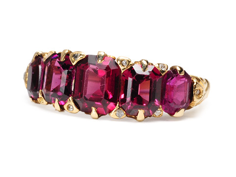 Almandine Garnet & Diamond Ring ca. 1930