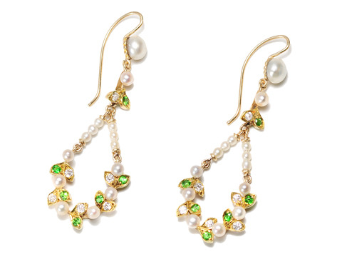 Edwardian Finesse: Diamond Demantoid Pearl Earrings