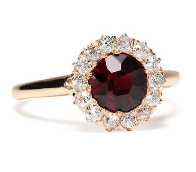 Antique Garnet & Diamond Cluster Ring