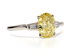 Fancy Vivid Yellow Diamond Platinum Ring