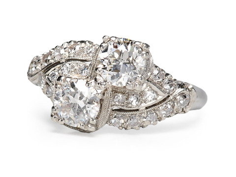 Art Deco Moi et Toi Diamond Bypass Platinum Ring