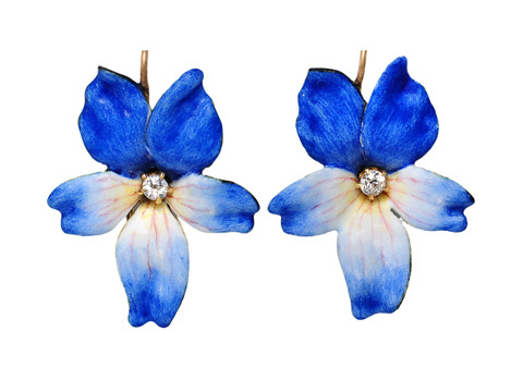 Art Nouveau Enamel Flower Earrings