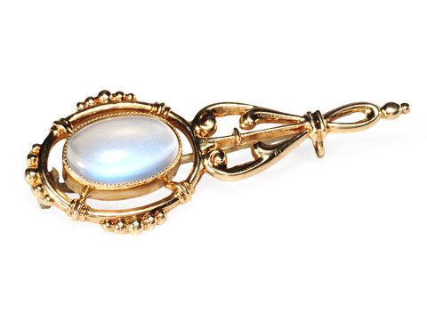 Antique Moonstone Halleys Comet Brooch
