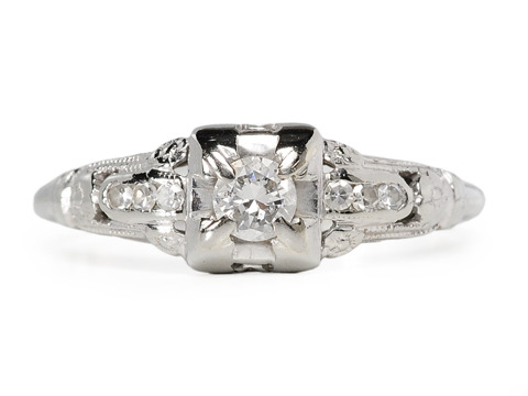 Diamonds & Flowers: Art Deco Engagement Ring