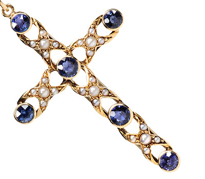 Edwardian Cross with Sapphires & Pearls