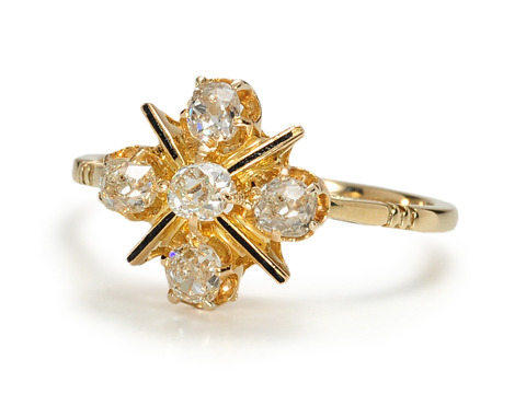 Antique Diamond & Enamel Gold Ring