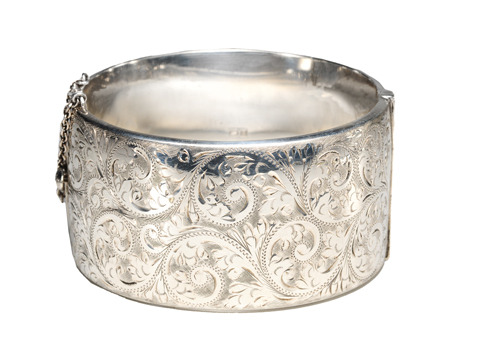 Classic English Sterling Bangle Bracelet
