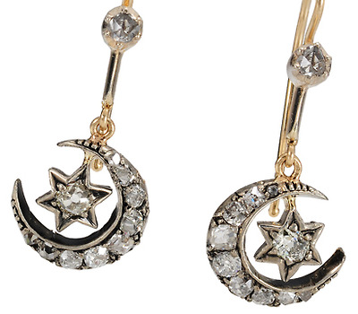 Victorian Crescent Moon & Star Diamond Earrings