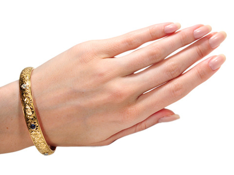 Wrapped in Flowers - Antique Gold Bangle Bracelet