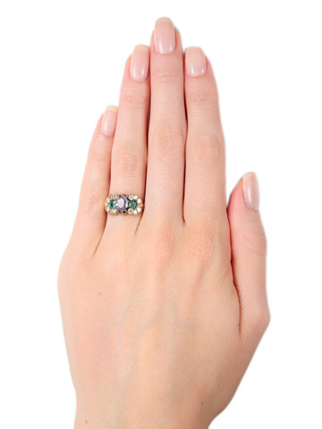 Antique Lavender Sapphire Emerald & Diamond Ring