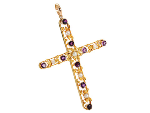 Antique Cross with Amethyst & Pearls