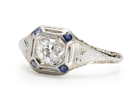 All American: Art Deco Diamond Sapphire Ring