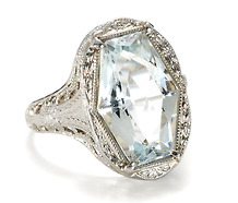 Art Deco Deluxe: 4.5 ct Aquamarine Ring