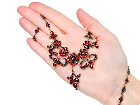 Dramatic Antique Garnet Necklace