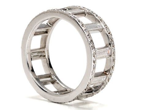 Diamond Set Platinum Eternity Band